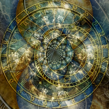 Modern abstract. Astronomical clock time spirals