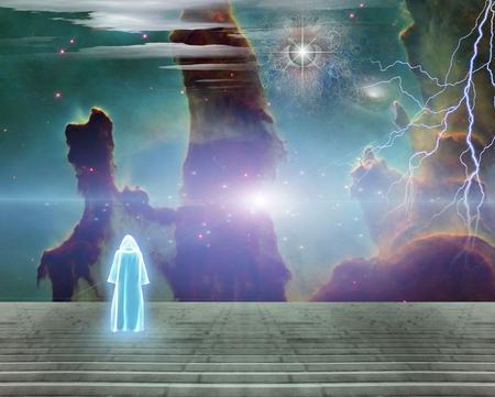 White monk in surreal landscape. All seeing eye in vivid nebulous sky Reklamní fotografie