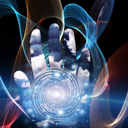 Hand with swirling spirals. Tunnel of time Standard-Bild - 122814959