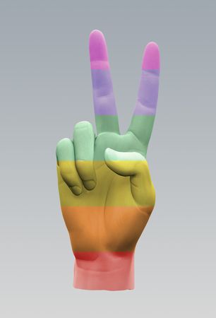 Rainbow Peace Sign. Hand gesture