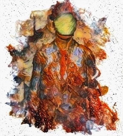 Man in dark suit. Hidden face green apple Imagens
