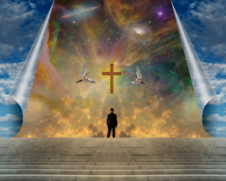 Man in black suit stands before golden cross. Angels flies in the vivid sky Imagens - 123012112