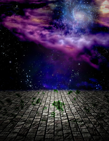 Surreal painting. Stone field in endless space. Banco de Imagens