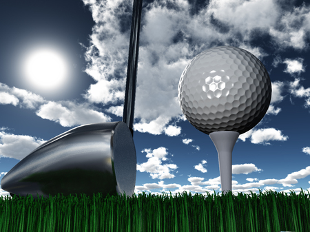Golf club and ball. Sunny day