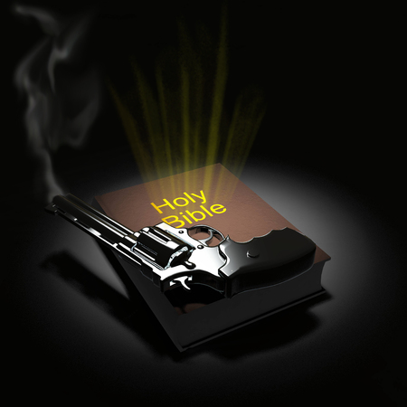 Holy Bible and revolver Stock Photo