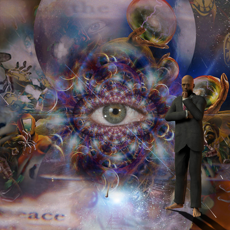 Thinking man in suit. Eye in endless surreal space