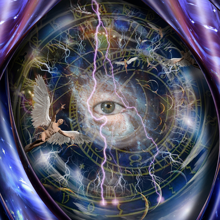 Angels and all seeing eye in endless dimensions Stock Photo