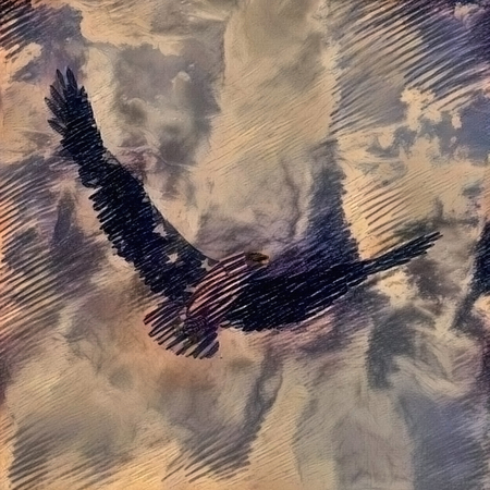 Abstract painting. Bird of Freedom. Eagle flies the clouds Imagens