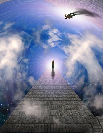 Man walks on a stone road to bright light. 3D rendering Фото со стока