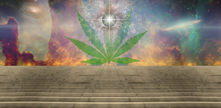Marijuans leaf and eye in vivid space Stock Photo