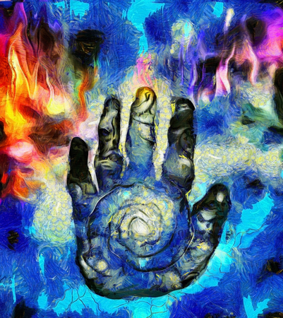 Hand of Time. Surreal painting Banco de Imagens