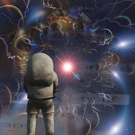 Astronaut in surreal composition. Super nova Stok Fotoğraf - 123159344