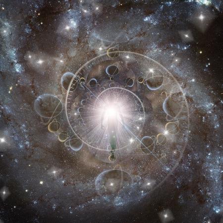 Éternité. Être de lumière dans l'espace lointain. Spirale du temps
