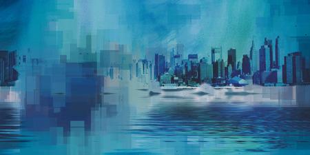 Modern Art. Manhattan, New York panorama in blue colors