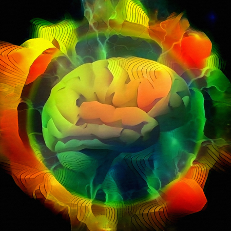 Vivid composition. Human brain radiates electric charges in circle of fire
