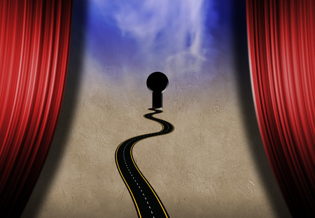 Symbolic composition. Road to keyhole on a stage with red curtains. 3D rendering Stock Photo