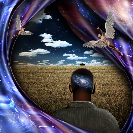 Surrealism and symbolism. Angels and man with galaxy in his head. 3D rendering 写真素材