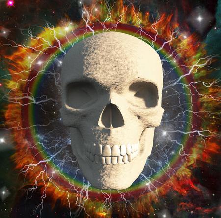 Modern digital art. Skull on vivid background with lightnings