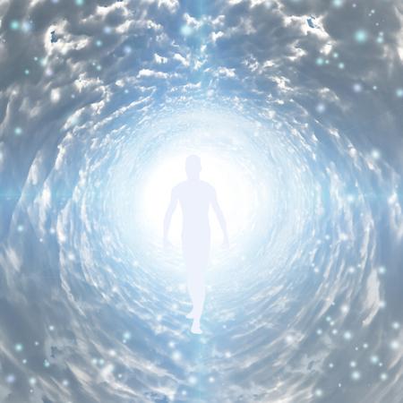 Tunel światła z figurą. Dusza. renderowanie 3D