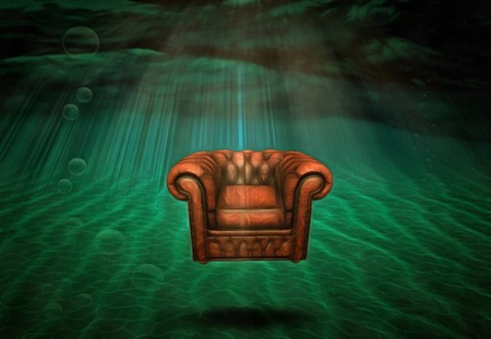 Surreal painting. Armchair under the sea