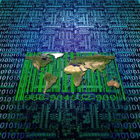 Binary code, modern world map and bar code Imagens - 123691713