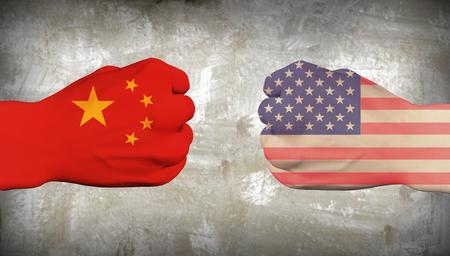 China vs USA. Men fists