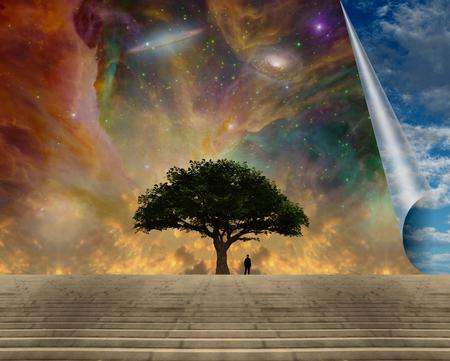 Surrealism. Man near green tree of life. Galaxies in vivid sky