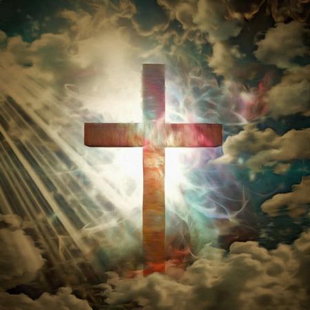 Christian cross in rays of light