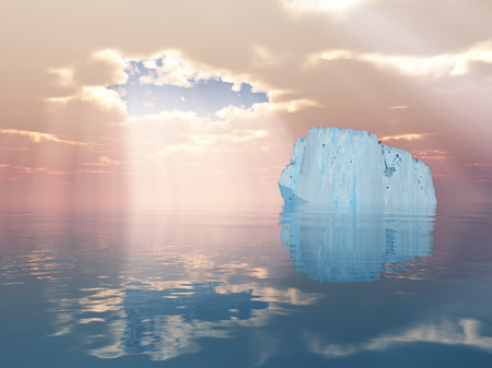 Iceberg in calm water. Sunshine through the clouds