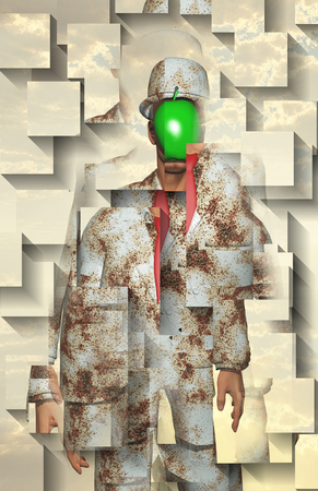 Surreal digital art. Man in white corroded suit with green apple instead of face 版權商用圖片