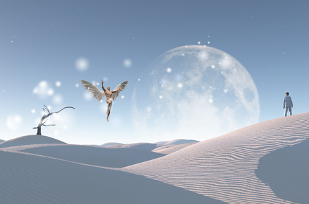 Surreal white desert with dry tree, big moon at the horizon. Man in white suit and bowler stands on a sand dune. Man with wings represents angel