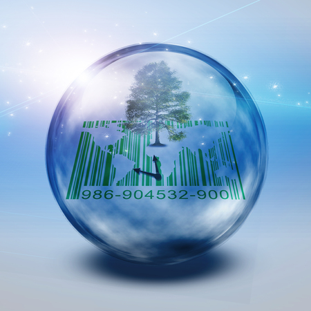 Green tree and barcode inside eco bubble Stock Photo