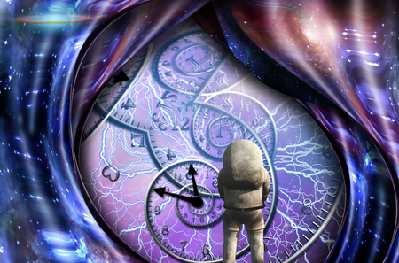 Surrealism. Spirals of time and warped space. Astronaut