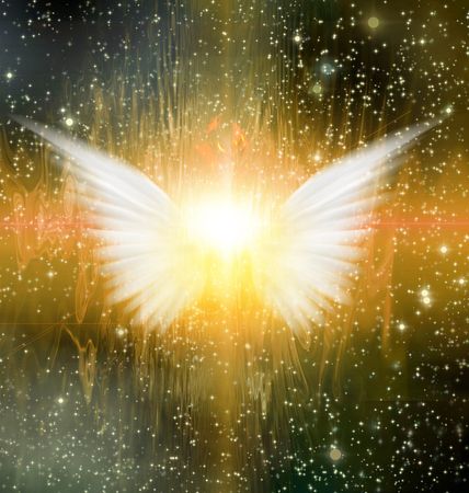 Spiritual abstract. Shining angel wings