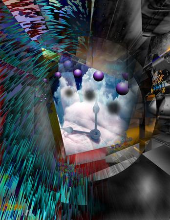 Meister der Zeit. Surreales überlagertes Bild. 3D-Rendering.