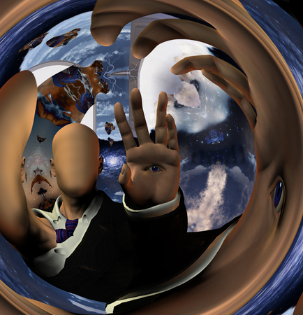 Surreal digital art. Faceless man with eye on a palm. Warped space. Imagens