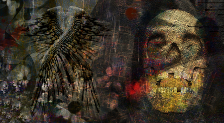 Spiritual dark art composition. Skull and angel wings Stock Photo