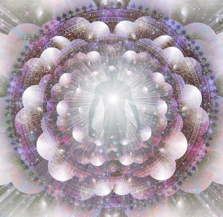 Strahlende Aura und Lichtstrahlen. Mandala