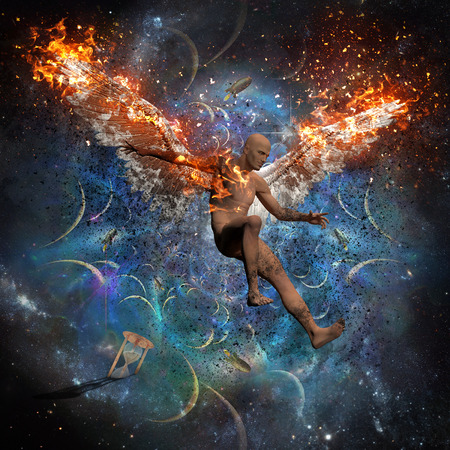 Mann mit brennenden Flügeln symbolisiert gefallenen Engel. Weltraum und Raketen im Hintergrund. Sanduhr symbolisiert Zeit