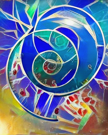 Modern abstract painting. Spiral clocks and space time