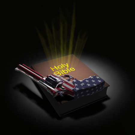 Holy Bible and revolver in US national colors