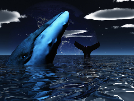 Whale in exoplanet ocean. Night Earth at the horizon