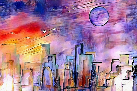 Colorful abstract painting. Dream city under mystic moon Standard-Bild