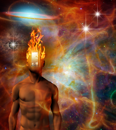 Burning mind in vivid cosmic space. Sci-fi Allegory Imagens - 124535791