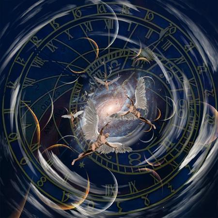 Anges dans le tunnel du temps. Art spirituel moderne