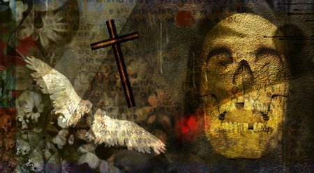 Spiritual dark art composition. Skul, crossl and angel wings