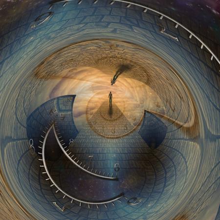 El hombre viaja a través de la puerta del tiempo