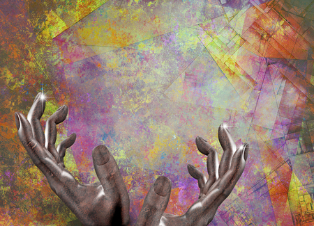 Abstract composition. Artist Hands. 3D renderig