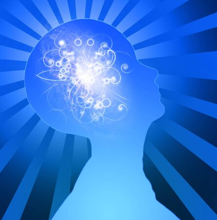 Human Head Radiates Light. Power of Mind Imagens - 124535940