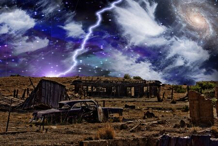 Abandoned Town. Surreal starry sky with galaxy